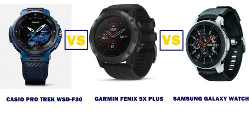 casio wsd-f30 vs garmin fenix 5x plus vs samsung galaxy watch compared