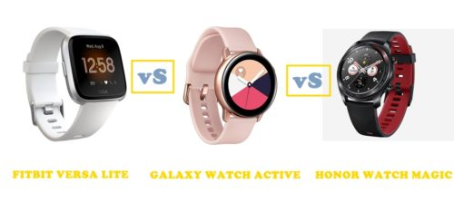 fitbit versa lite vs samsung galaxy watch active vs honor watch magic compared