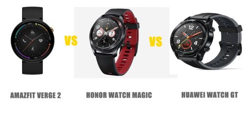 amazfit verge 2 vs honor watch magic vs huawei watch gt