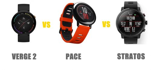 amazfit verge 2 vs pace vs stratos