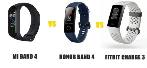 mi band 4 vs honor band 4 vs fitbit charge 3