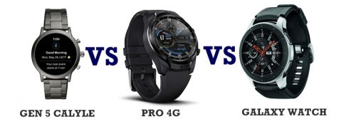 fossil gen 5 vs ticwatch pro vs samsung galaxy watch compared