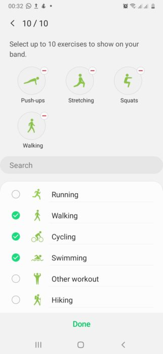 galaxy fit preset workout modes