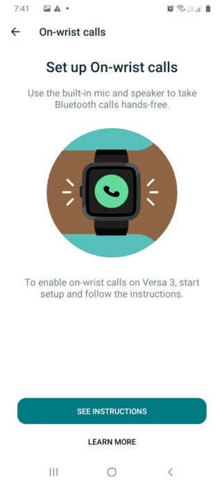 setup on-wrist calls for Fitbit Versa 3 and Sense